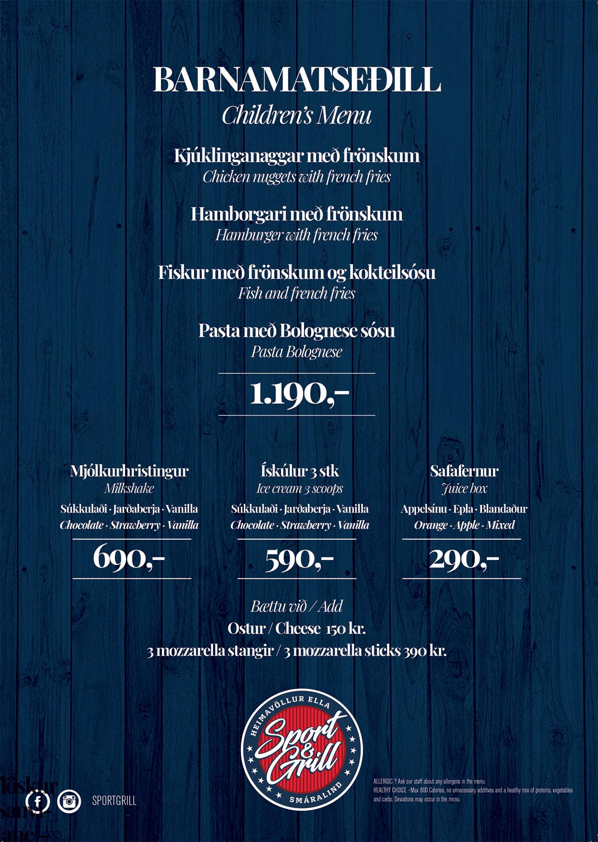 Sportgrill - Matseðill